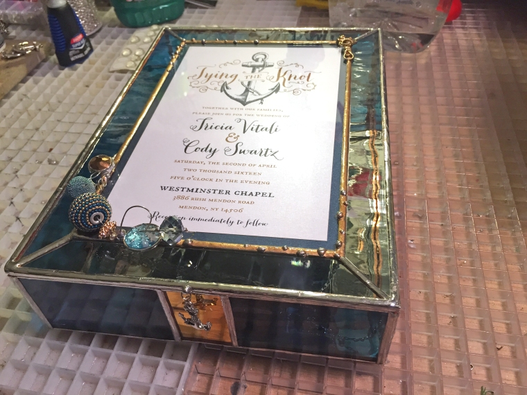 stained glass wedding invitation box
