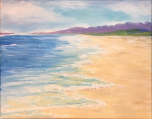 acrylic beach painting by anna harding