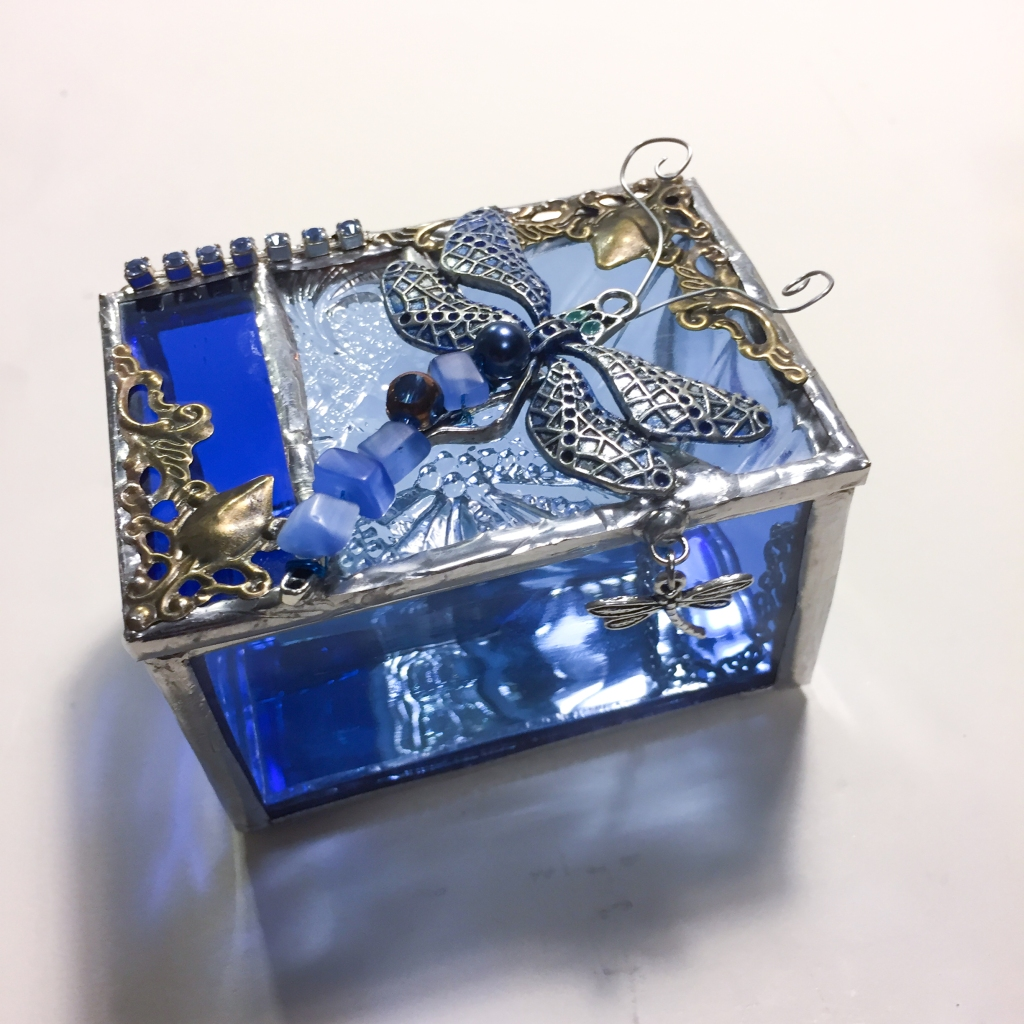 Dragonfly stained glass box