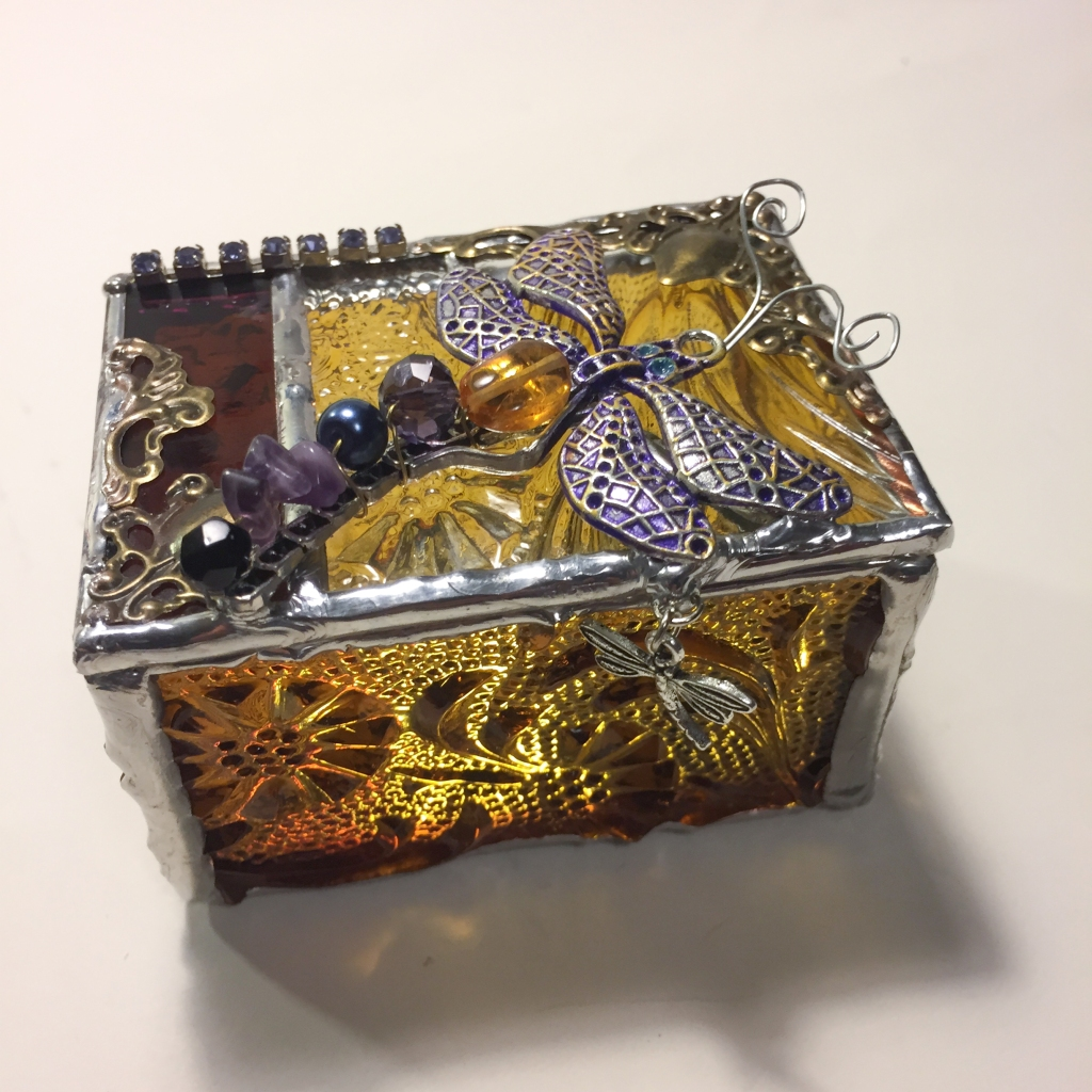 dragonfly stained glass ring box