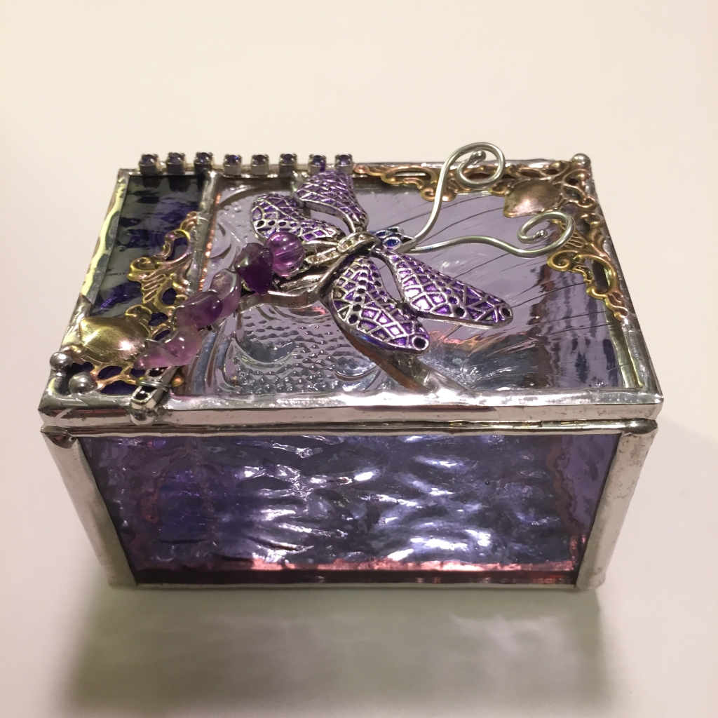 purple stained glass dragonfly ring box